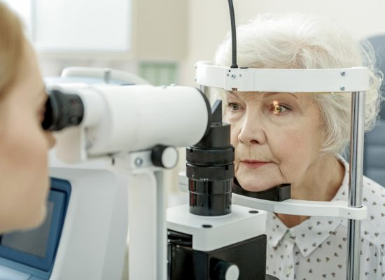 Senior women being examined for glaucoma